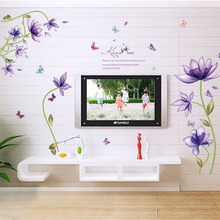 Removable Romantic Butterfly Purple Flower Wall Stickers Furnishings Living Room Decoration TV Background Home Decals Wallpaper(China)