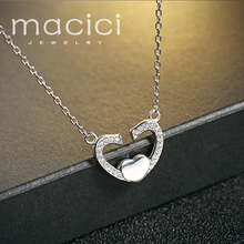 Heart Pendant Necklace 925 Sterling Silver United in Love Chain Necklace & Pendant for Mother Girls Friends Gift Wholesale DA474