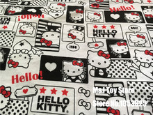 170*50cm lovely cartoon Hello Kitty Sweet knitting cotton fabric For Sewing diy Patchwork baby girl shirt clothes Bedding