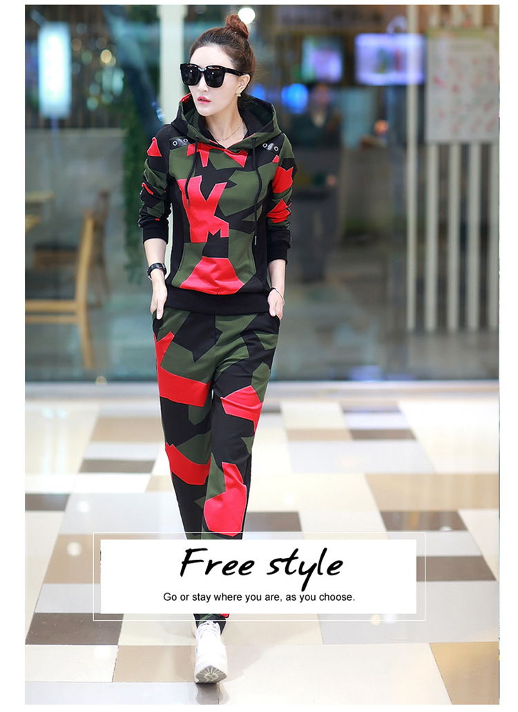 17 Women 2 Two Piece Set Camouflage Sporting Suit Femme Hoodies Sweatshirt Top And Pants Sweatsuit Set Casual Runway Tracksuit 6