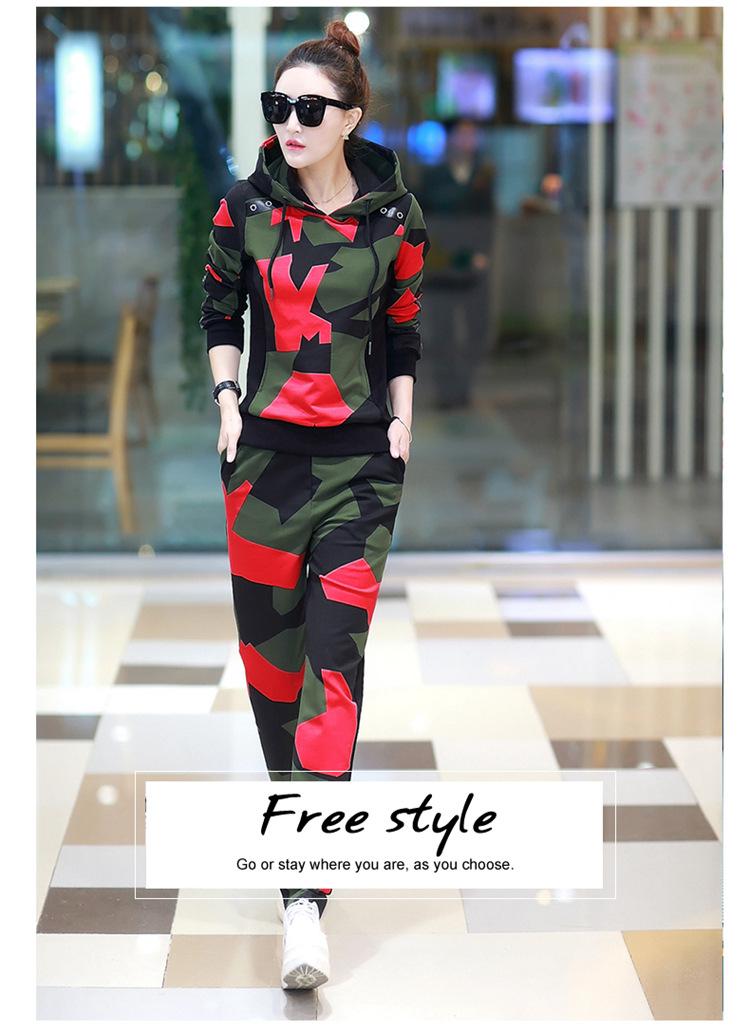 17 Women 2 Two Piece Set Camouflage Sporting Suit Femme Hoodies Sweatshirt Top And Pants Sweatsuit Set Casual Runway Tracksuit 6