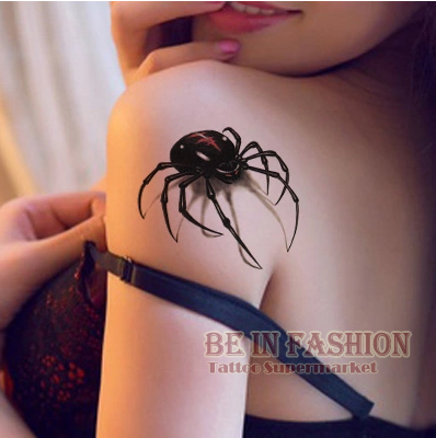 3d waterproof temporary tattoo stickers Black Spider designs Flash Temporary Tatoo fake 1sheet small neck tattoos Body Art QS054(China)