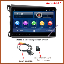 Quad Core android 6.0 10.2 '' HD Capacitive touch screen car dvd player for honda civic with can bus GPS radio 3g wifi  free map