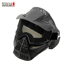 Airsoftsports Guard Mask Full Face Neck Protect Mesh Mask With Wire Goggles Eye Protection For Outdoor Hunting Paintball Cycling