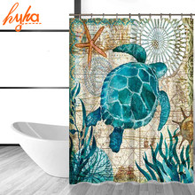 Hyha Marine Polyester Waterproof Shower Curtain Seahorse Turtle 12pc Hooks Mildew Resistant Bath Home Bathroom