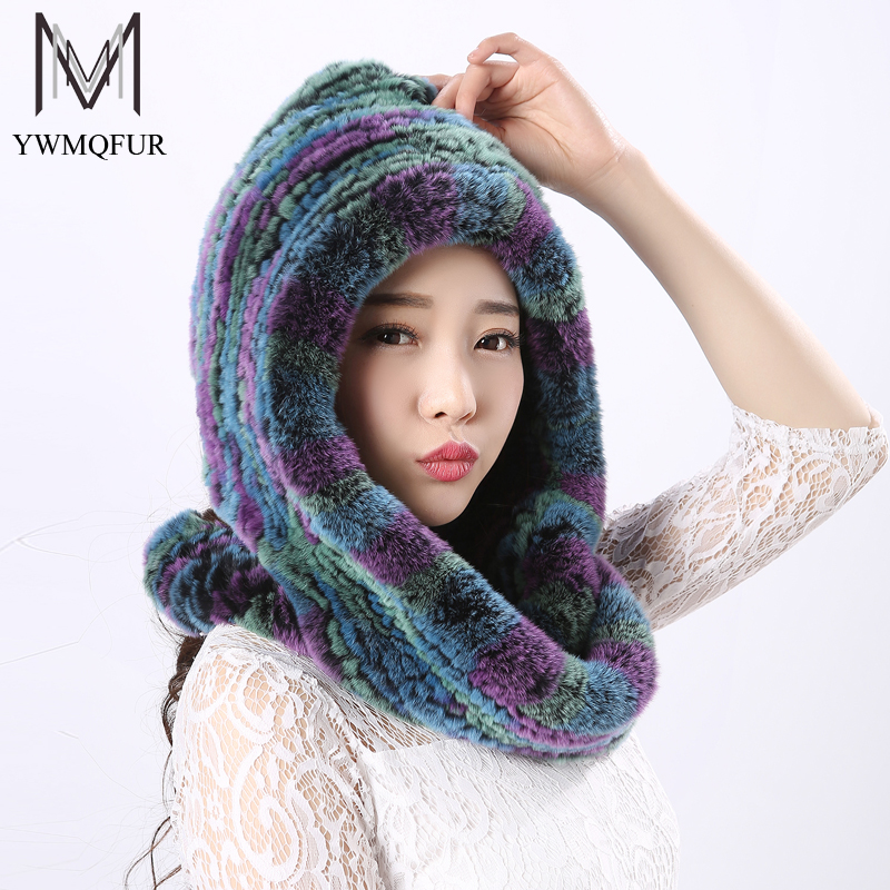 YWMQFUR Fur Scarves For Women Winter Genuine Rex Rabbit Fur Shawls Fashion New Style Warm Female Shawls Women Hooded Scarf H21Îäåæäà è àêñåññóàðû<br><br>