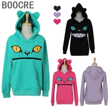 Zipper Mouth Smile Cat Shoulder 3D Ear Jumper Pullover  Devil Cat Sweatshirt Tops
