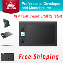 Hot Sale New Huion DWH69 Wireless Digital Tablets Kids Pen Tablet Art Drawing Designer Graphics Tablets For Windows Mac OS Black(China)