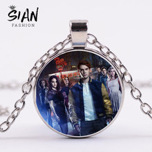 SIAN Trendy Riverdale Necklace Mysteries of Riverdale Classic Poster Printed Glass Cabochon Pendant Necklace Men Women Fans Gift(China)