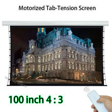 HD Projector Screen 80x60 Viewing Size Motorized Tab-tension Front Projection Screens With 12V Trigger(China)