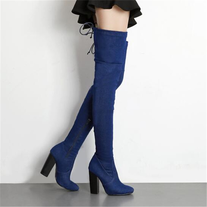 Women Over The Knee Thigh High Boots Vintage Denim Zip Boots Square High Heels Gladiator Sexy Wedding Shoes Woman botas mujer<br>