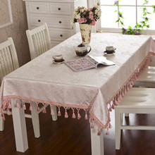 Dining table cloth fabric satin gold jacquard quality rustic tassel fashion customize