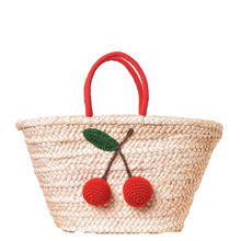 Red Cherry Pom Ball Design Beach Bag Handmade Woven Straw Handbags for Women Shoulder Summer Shoppong Large Totes Boho Bags A26