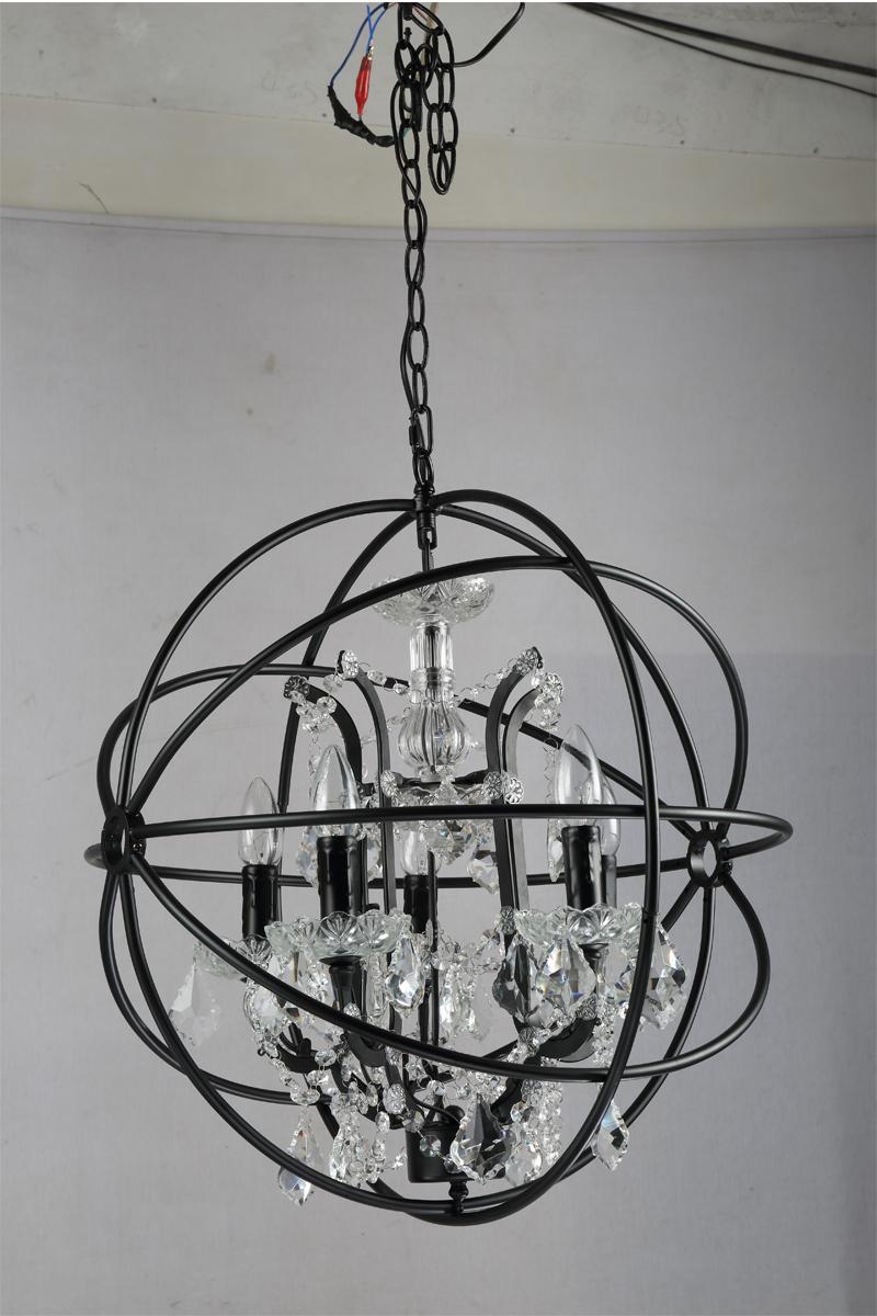 Retro pendant crystal iron ball shape Lamp E14 Nordic industry Vintage Loft american country Art _1Ceiling Lamp-1