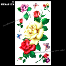 SHNAPIGN Sexy Yellow Rose Child Temporary Body Art Flash Tattoo Sticker 10*17cm Waterproof Henna Fake Tatoo Wall Tattoo Sticker