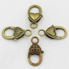 500 PCS/lot Wholesale Hot Selling Antique Bronze Color Heart Lobster Clasps Alloy DIY jewelry Findings Clasps & Hooks(China)