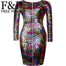 Sexy Colored Rainbow Leopard Faux Leather Zipper Front Bandage Pencil Dresses New 2015 Long Sleeve Women's Bodycon Midi Dress(China)