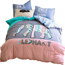 PAPA&MIMA Fashion Elephant pattern cartoon kids bedding set 3/4pcs queen twin size cotton duvet cover set pillowcase bedsheet(China)