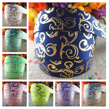7/8'' 22mm 10 yards glitter gold foil printed grosgrain ribbons handmade DIY hair bows MD16101202(China)