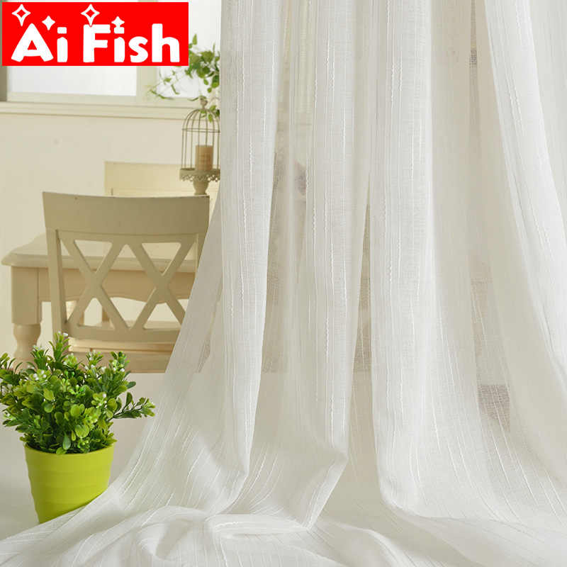 Modren Coffee Solid Linen Window Curtain Fabrics White Striped Gauze Sheer For Living Room kitchen Tulle Curtains Drapes 039-40