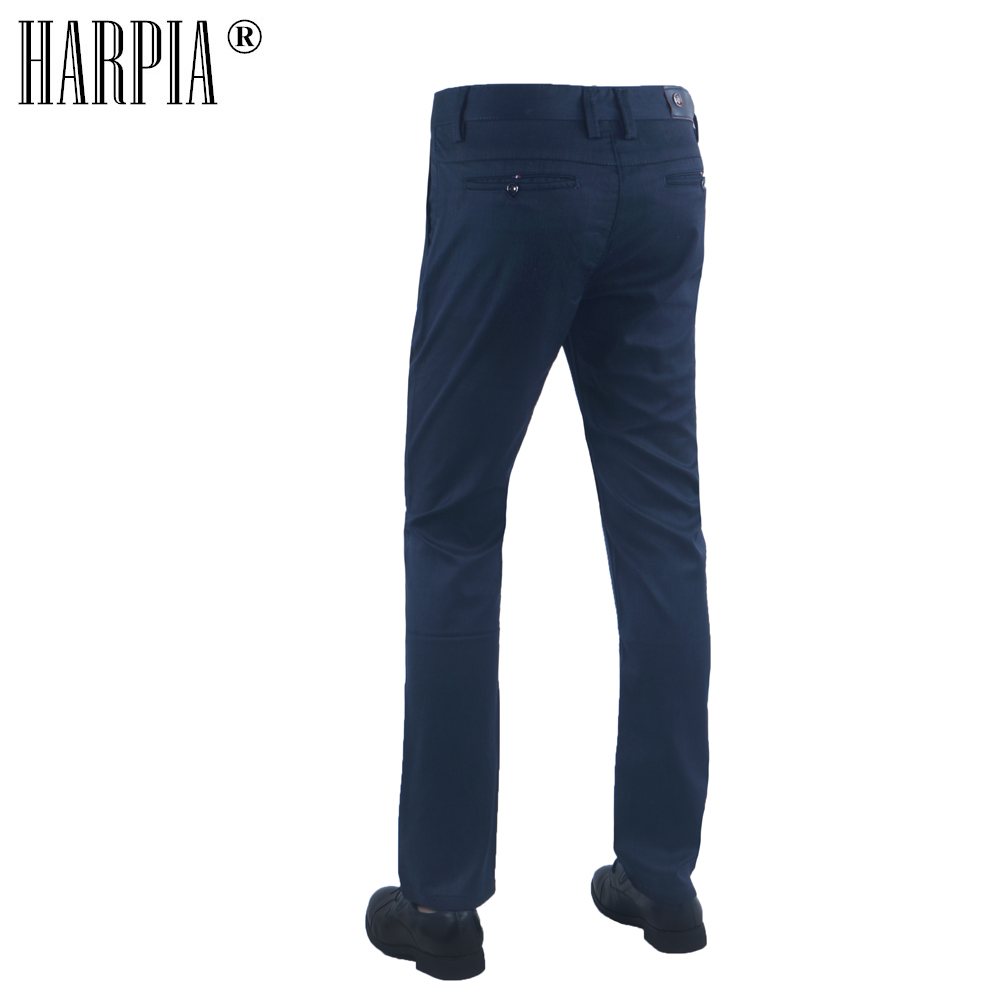 HARPIA Hot Classic Style Men Casual Trousers Male Autumn Cotton Straight Slim Regular Stretch Blue Man Pants Buy 1 Get 1 Free