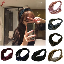 2017 Fashion women crossed headband velvet Hairband Turban Elastic Headband Bandage Hair Accessories(China)