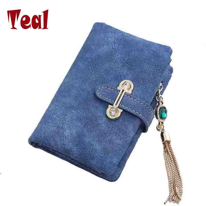 women Wallet card holder female wallet women luxury brand organizador women's purse clip Vintage Matte Hasp Suede pendant wallet(China (Mainland))