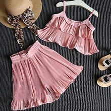 Puseky 2017 Fashion Toddler Kids Baby Girls Cloth Sets Ruffled Tutu Layered Cake Tank Vest+ Pants 2pcs Princess Clothes 2-7T