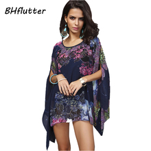 Buy BHflutter Batwing Sleeve Chiffon Blouses Women Tops New 2017 Floral Print Summer Blouse Shirt Plus Size Women Clothing Blusas for $13.32 in AliExpress store