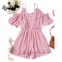 Buy AZULINA Women Playsuits Casual Cute Loose Ruffles Open Shoulder Frilled Romper Short Jumpsuits Female Solid Womens Clothing S-M for $15.24 in AliExpress store
