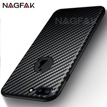 NAGFAK Hard Ultra Thin Carbon Fiber Case Cover For iphone 7 7 plus Case Slim Plastic Phone Cases For iPhone 6 6s 5 5s SE Cover(China)