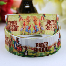 "7/8"" 22mm Peter Rabbit Cartoon Printed grosgrain ribbon party decoration sewing supplies satin ribbons OEM 10Y X-00404(China)"