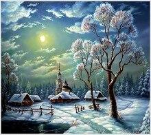 Зимний пейзаж полный положил алмаз живопись вышивка Рождество снежная ночь пейзаж бисер вышивка крестиком комплект украшения дома стены(China)