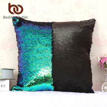 BeddingOutlet Mermaid Sequin Cushion Cover Magical Shining Pillow Case Patchwork Decorative Pillowcase Stylish For Home 40X40cm(China)