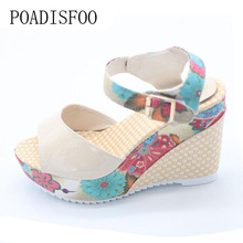 POADISFOO Women's Shoes Sandals Sexy High Wedge Heel Sandals Sweet Cute Thick Crust Waterproof Flower Shoes .DDN-lx04(China)