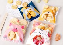100PCS Cute Animals Candy Cake Biscuits Cookies Packaging Bags Self-adhesive Plastic Gifts Bags Party Birthday Snack Baking(China)