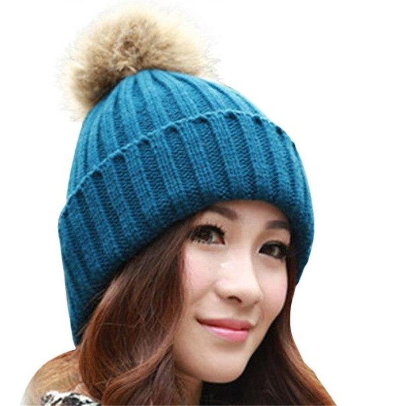 Fashion New 2016 Women Winter Fur Ball Warm Hat Crochet Knitted Wool Cap  Knitting Fur Plus Velvet For Adult Female Chapeau N7Îäåæäà è àêñåññóàðû<br><br><br>Aliexpress