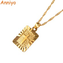 Anniyo Christian Cross Pendants Women Gold Color Christianity Crucifix Classic Jewelry Charm Pendant Jesus Items gift #087506(China)