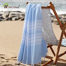 HAKOONA Striped Cotton Turkish Beach Towels tassel Pestemal Fouta Towels Shawl Scarf Towels 75*140cm(China)