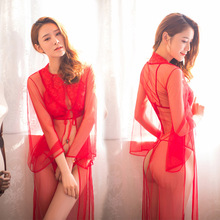 Buy New Porno Women Babydoll Sexy Underwear Embroidery Lingerie Sexy Hot Erotic Transparent Red Dress Erotic Lingerie Porno Costumes