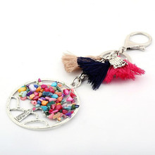 Vintage Fashion Tree Of Life Charm Natural Stone Long Tassel Keychain Car Key Chain Ring Owl Pendant For Bag