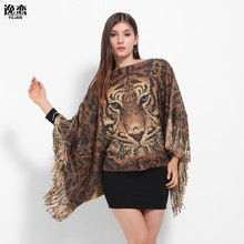 YI LIAN Brand Tiger Animal Poncho Acrylic Scarf Print Tassel Winter Shawl for Women Top Quality Brown Color LA105(China)