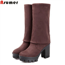 ASUMER Square High Heel Women Boots Stretch Fabric Over The Knee Boots Women Shoes Winter Female Lace Up Suede Thigh High boots