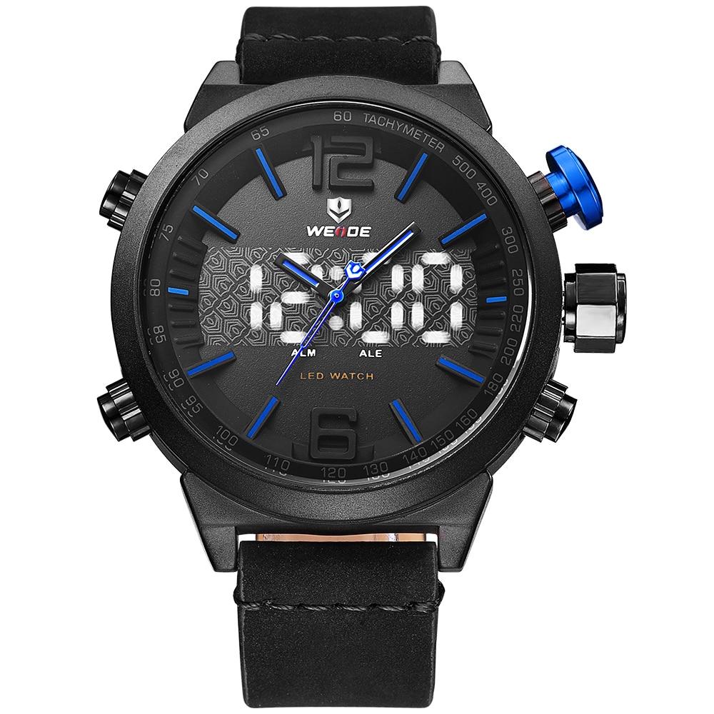 Weide casual genuine Brand Luxury watch Men Sports leather Watches LED Digital Quartz Watches analog men watch water resistant<br>