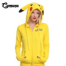 CGMANA 2018 Fashion Women Jacket Yellow Solid Pokemon Pikachu Printed Costume Tail Zip Totoro Hoodie Sweatshirt Sudaderas Muje