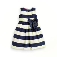 Fashion summer children clothing Cheap Baby Girl Clothes Cute Girl Kids Children Stripe Knot Bow Summer Princess Party Dress