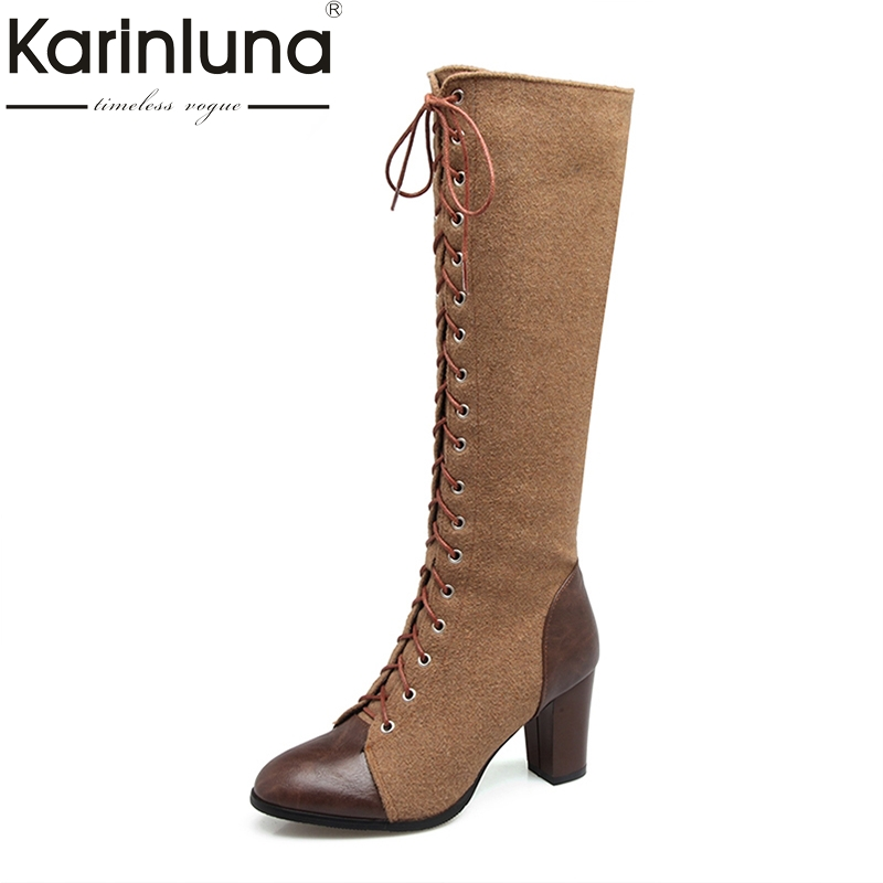 KARINLUNA Large Size 33-48 Fashion Knee High Boots Sexy Square High Heels Shoelace Warm Fur Plush Winter Boots Women Shoes Woman<br>