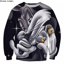 PLstar Cosmos 2018 Hot sale Men Women Sweatshirts Funny Cartoon Bugs Bunny print 3d Crewneck casual Pullovers Plus size S-5XL(China)
