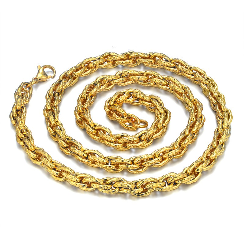 Men39s gold rope chain necklace promotion shop for promotional hip hop rope necklace for men wholesale collier mens gold color thick stainless steel hippie rock chain long necklaces jewelry sciox Gallery