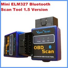 Hot sale OBD/OBD II Mini ELM327 Bluetooth work on Android Torque diagnostic Scan tool 2.1 Version free shipping by post air